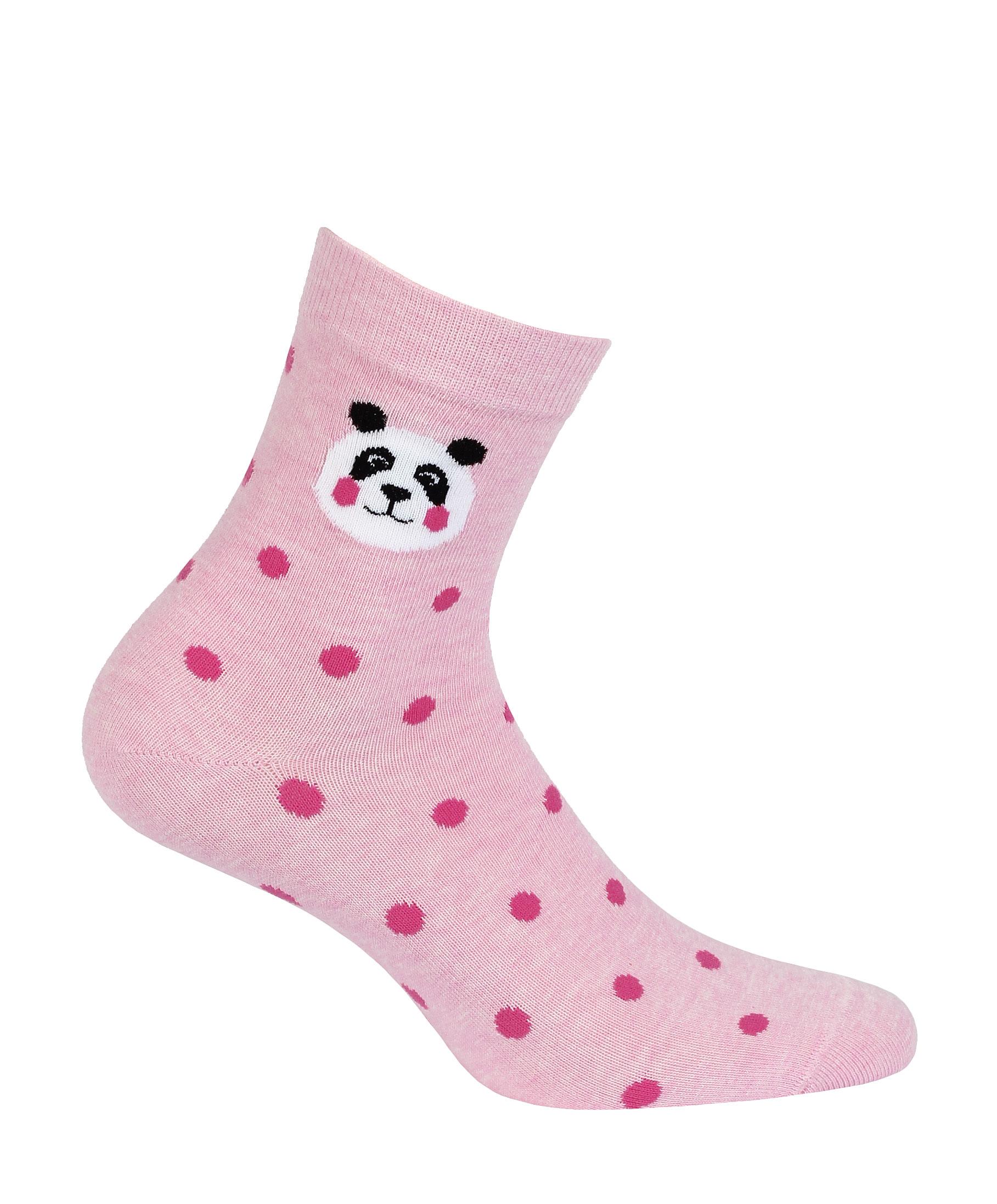 dětské ponožky vzor GATTA PANDA, PUNTÍKY růžové 33-35