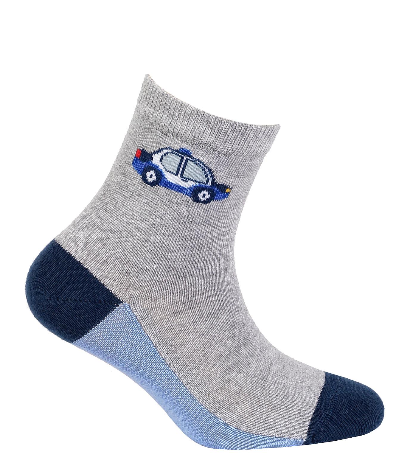 dětské ponožky vzor GATTA AUTO S MAJÁKEM šedé 24-26