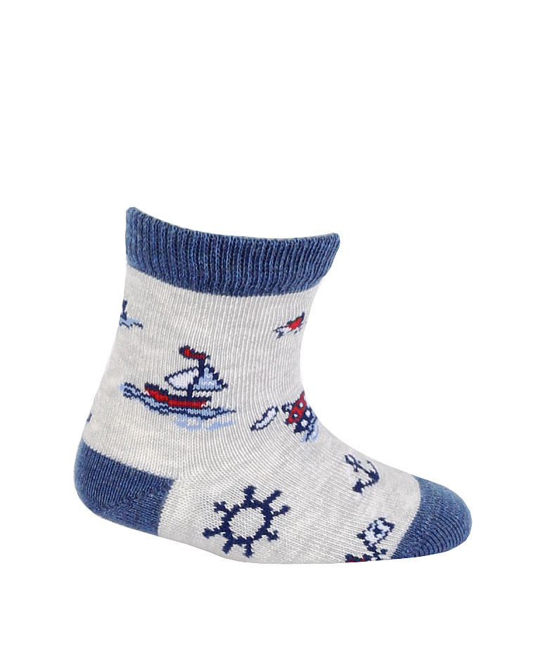kojenecké ponožky vzor GATTA LOĎKY šedé 18-20