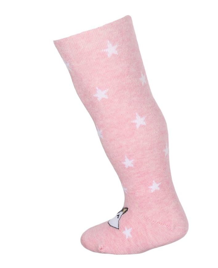 kojenecké punčocháče vzorované WOLA LIŠKA HVĚZDIČKY růžové 56-62