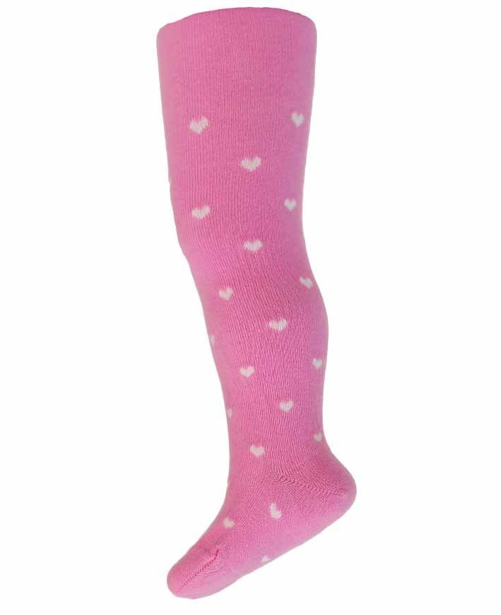 kojenecké punčocháče vzorované WOLA SRDÍČKA růžové 62-74