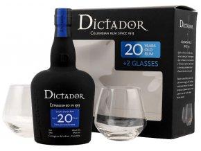 Rum Dictador 20YO v dárkovém balení se 2 skleničkami 40% 0,7 l