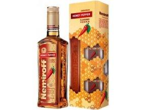 56498 1 vodka nemiroff honey pepper v darkovem baleni se sklenickama 40 0 7l