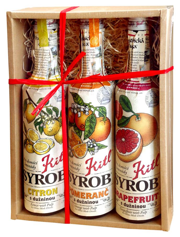 Kitl (sirupy, medovina) Dárková sada Syrob Citrusy - obsahuje grep, citron, pomeranč 3x0,5l Kitl