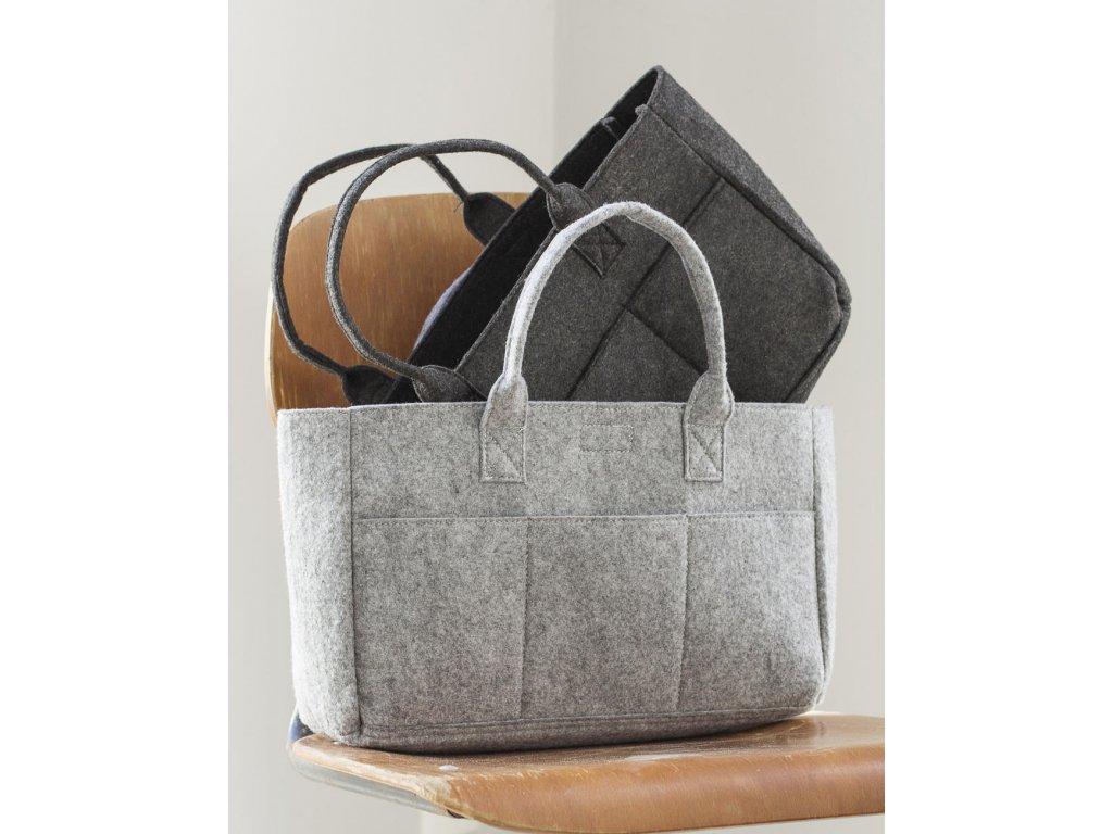 Velká plstěna nákupní taška s kapsami (Velikost One Size, Barva Grey Melange)
