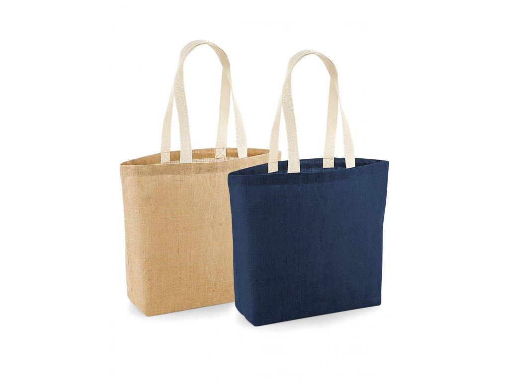Nelaminovaná jutová taška Shopper (Barva Navy/Natural, Velikost One Size)