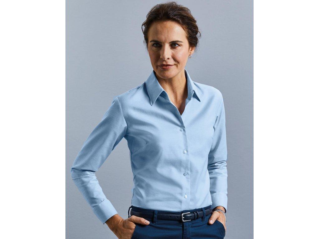 Dámská košile Oxford s dlouhým rukávem (Barva Silver, Velikost 4XL (48))