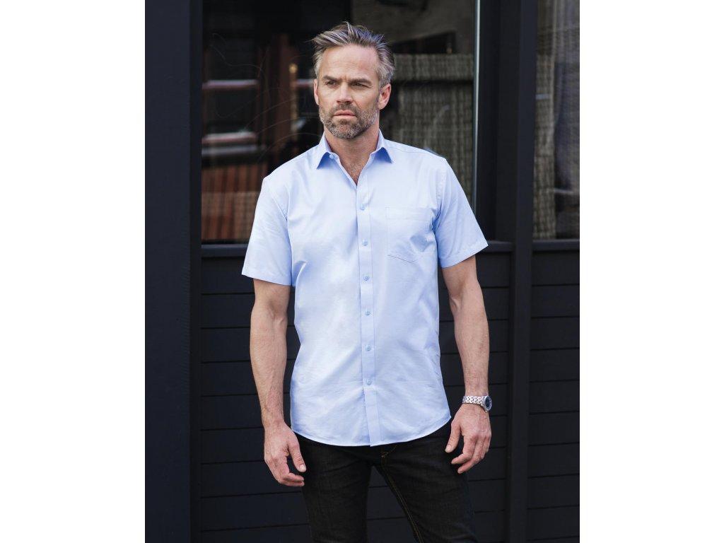 Pánská košile s kr.ruk. Tailored Coolmax® (Barva Light Blue, Velikost 4XL)