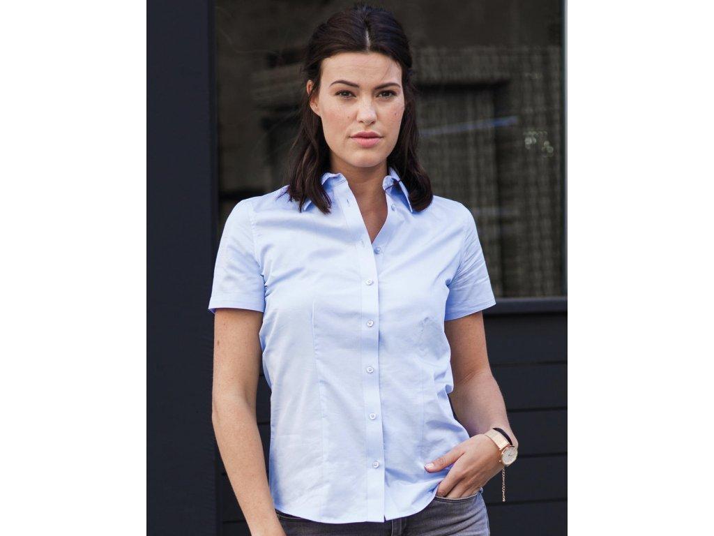 Dámská košile s kr.ruk. Tailored Coolmax® (Barva Light Blue, Velikost 4XL)