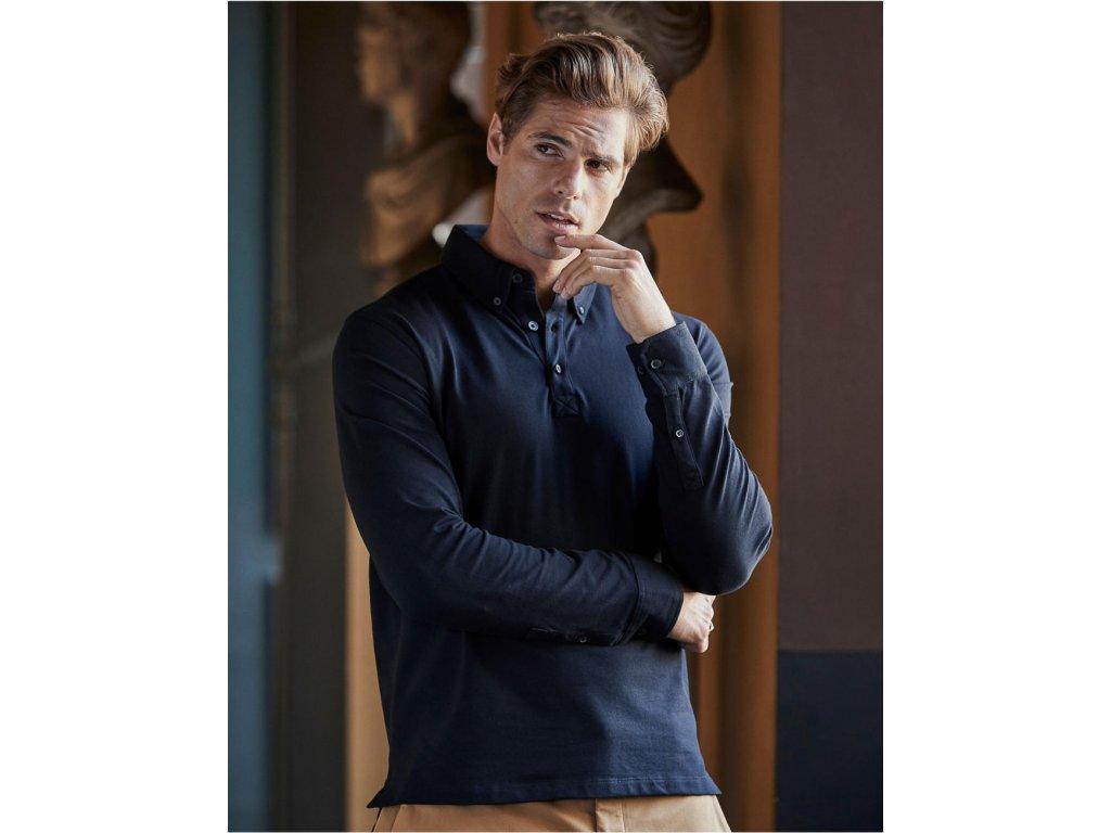Fashion Luxury Stretch Polo s dlouhým rukávem (Barva Light Blue, Velikost 3XL)