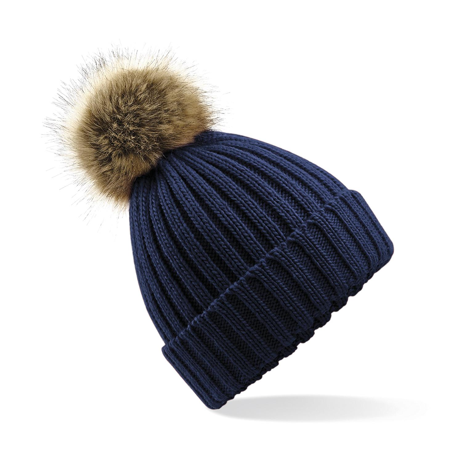 Beechfield Zimní čepice s bambulí Chunky modrá 6a8a2a044f