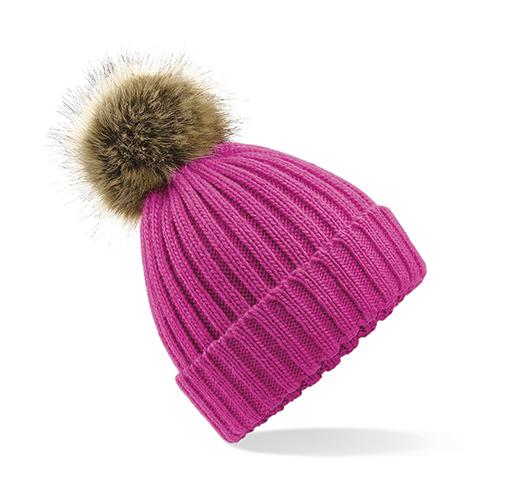 Beechfield Zimní čepice s bambulí Chunky růžová 4bbf30ae4e