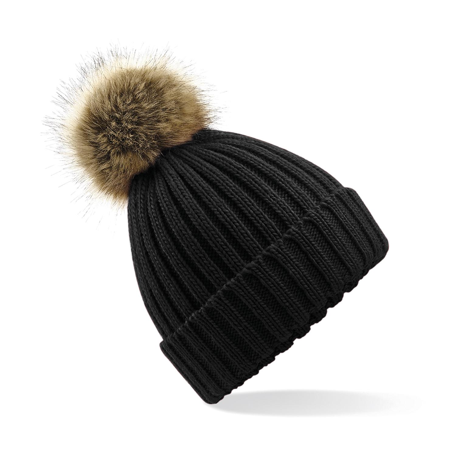 62fe685842a Beechfield Zimní čepice s bambulí Chunky černá