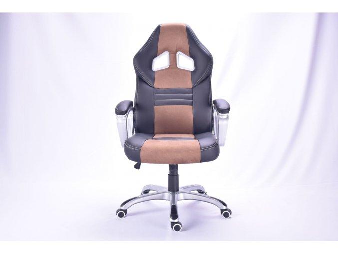 Kancelářská židle Alonso černá s hnědými pruhy