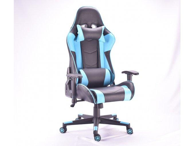 Kancelářská židle MUSTANG černá s modrými pruhy