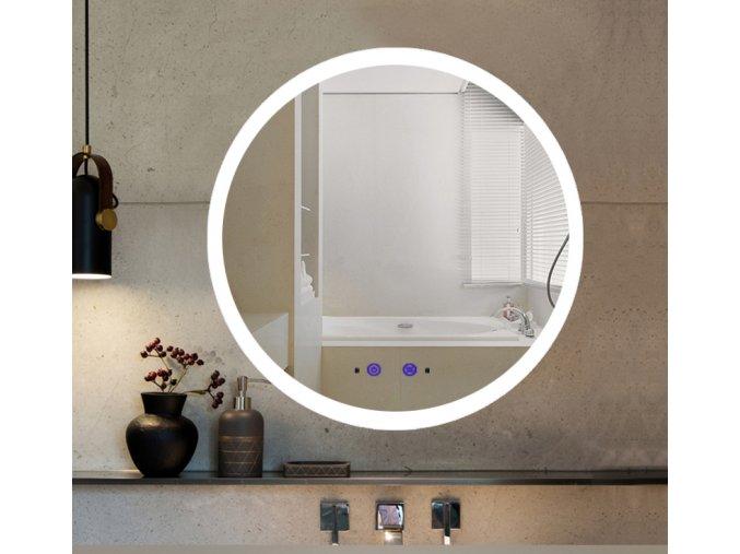 Nemlžící koupelnové zrcadlo kulaté s LED osvětlením 60x60 cm KZ3