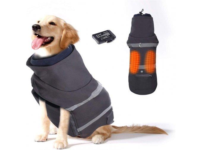 Vyhrievaný oblečenie pre psov Savior šedý vel. XL