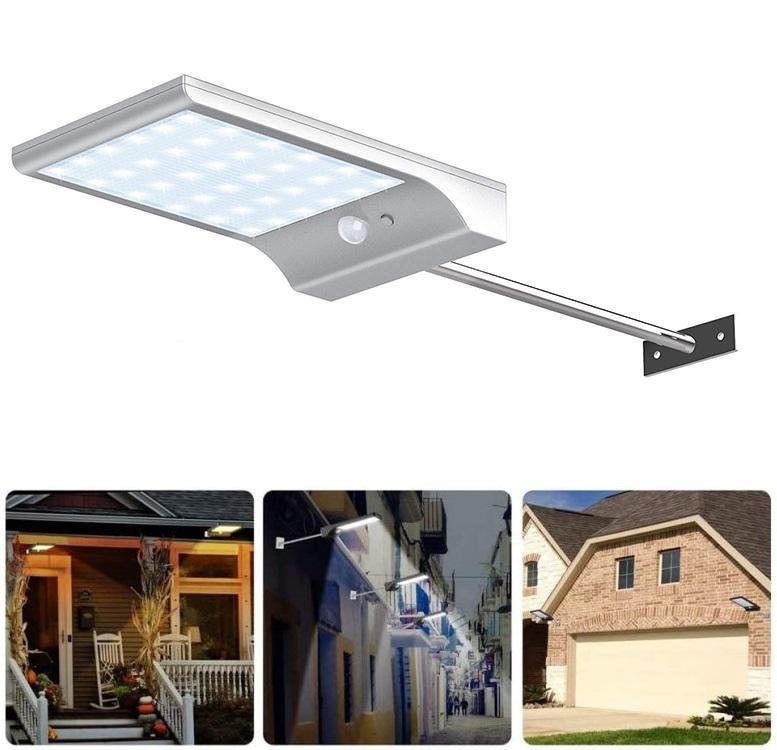 Bezdoteku LEDSolar 36 nástenná lampa s vysunutím biela, sa senzorom, bezdrôtové, 2,5 W, studená farba