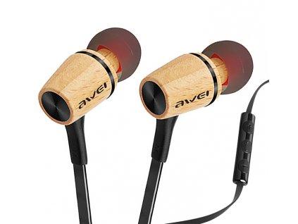 drevena sluchatka do usi s ovladacem hlasitosti a mikrofonem awei es 80ty