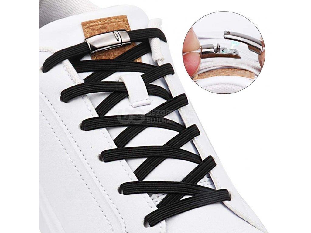 Magnetické šnúrky do topánok ploche elasticke s prackou sponou