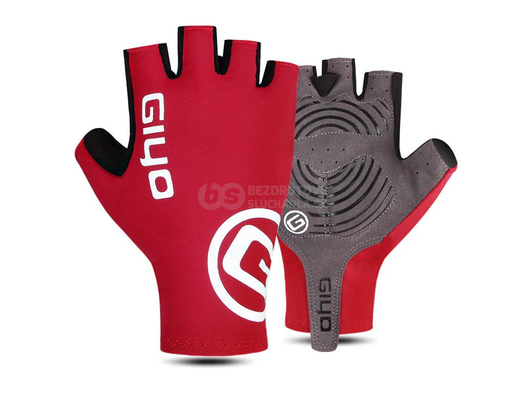 cervene cyklisticke rukavice na bicykel cervena giyo S02 s gélom gelove