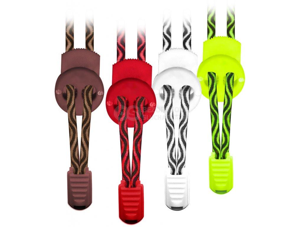 gumove pruzne šnúrky do topánok s brzdičkou elasticke pruhované DAVAY easylace ew1