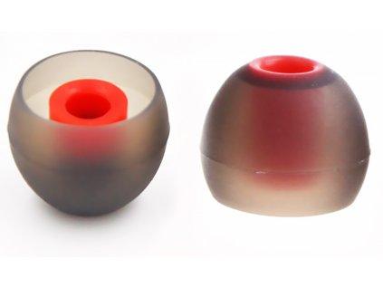 nahradni spunty na sluchatka silikonove cervene do usi