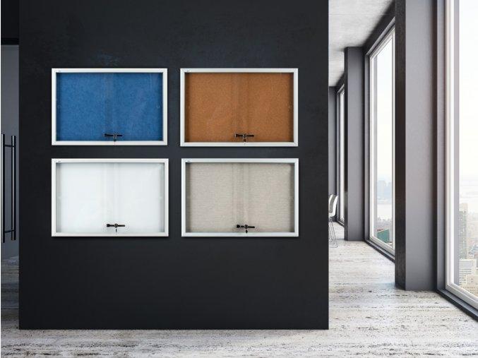 Vitrína AVELI informační šedá, 15xA4  Vnitřní vitrína