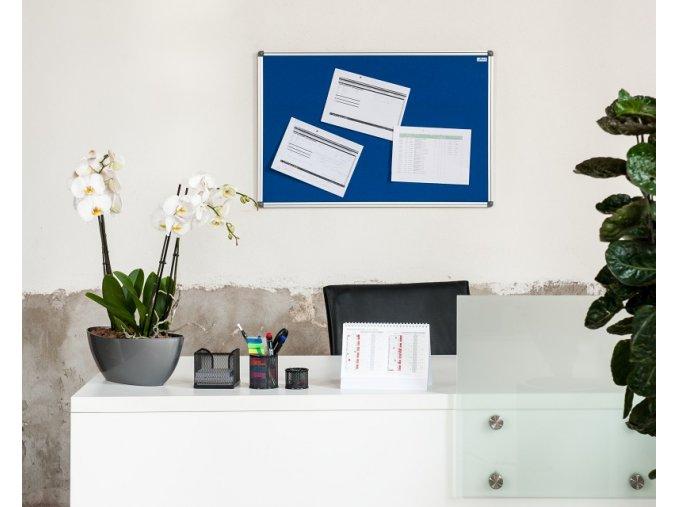 Textilní nástěnka AVELI 90x60 cm šedá, hliník.rám