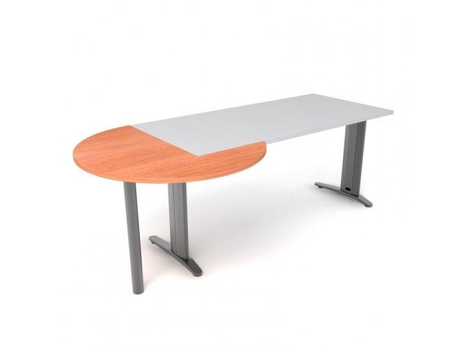 Přístavný jednací stůl s kovovou nohou 100x100 3/4 kruh