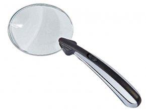 Lupa WEDO bez rámečku 80 mm  Kruhová svítící lupa s LED diodou.