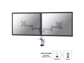 """NewStar Flat Screen držák na 2 PC monitory 10-27""""  na svorku nebo průchodku, bílý"""