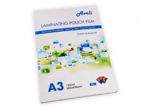 Laminovací fólie AVELI A3/250 mic (2x125), lesklé