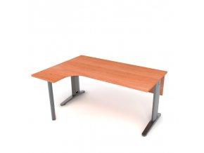 Kancelářský rohový stůl 160x75x60 levý kovová konstrukce s krycí deskou