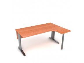Kancelářský rohový stůl 160x75x45 pravý kovová konstrukce s krycí deskou