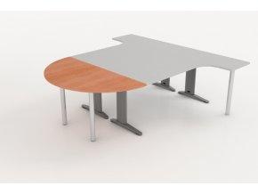 Přístavný jednací stůl s kovovou nohou 75x150 1/2 kruh