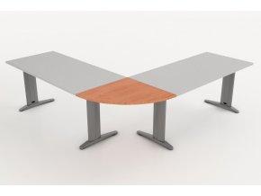 Přístavný jednací stůl s kovovou nohou 75x75 1/4 kruh