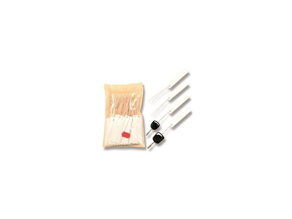 Bílé NIRO plastové visačky na klíče s měděným drátkem 250ks - 434080100
