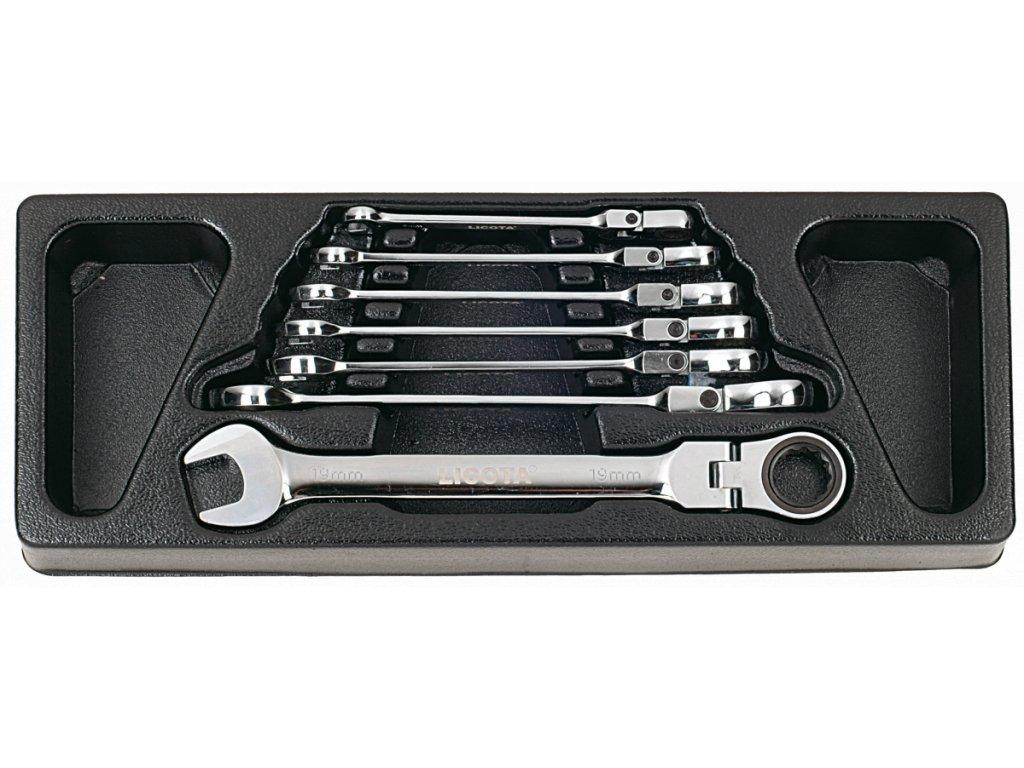 Flexibilní ráčnové očkoploché klíče ve výplni dílenského vozíku, 7 dílů - LIACK384019
