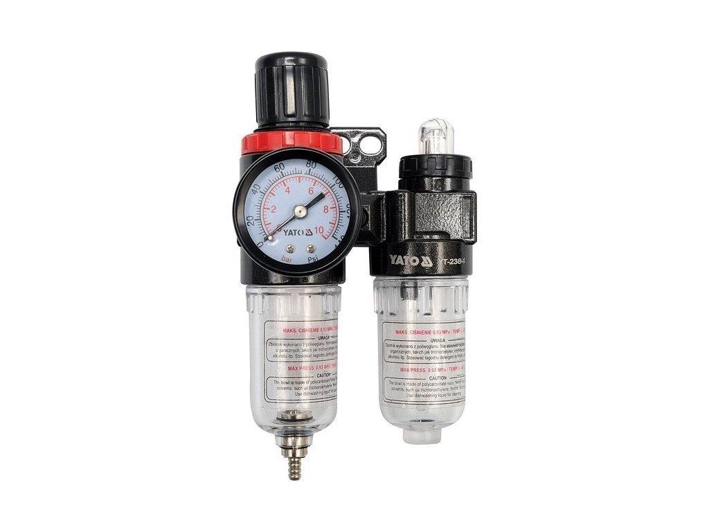 """Regulátor tlaku vzduchu 1/4"""", max. 0,93MPa, s filtrem (25ccm) a přimazáváním (15ccm)"""