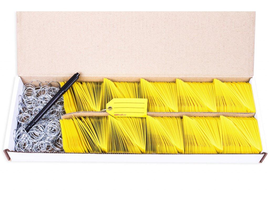 Žluté Exclusive plastové visačky na klíče se závěsným kroužkem 500ks - 434080099
