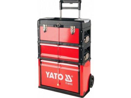 Vozík na nářadí 3 sekce, 2 zásuvky, nosnost 45kg - YT-09102