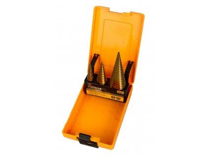 Stupňovitý vrták v sadě 3 ks v boxu - HT501044