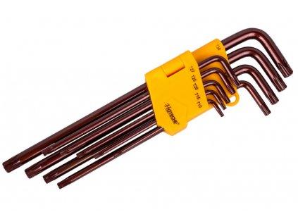 Sada klíčů TORX s otvorem 9 ks, extra dlouhé - HT260519