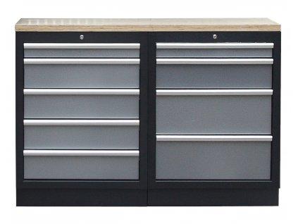 Sestava kvalitních PROFI dílenských skříněk s pracovní deskou - TGS1300BAL09 Grey