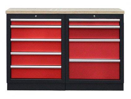 Sestava kvalitních PROFI RED dílenských skříněk s pracovní deskou - RTGS1300BAL09