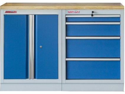 Sestava kvalitních PROFI BLUE dílenských skříněk s pracovní deskou - MTGS1300BAL07 Blue