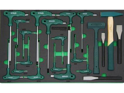 Modul - ruční nářadí - nástrčné klíče Imbus a Torx, kladiva, 21 ks - JONNESWAY H10121SV