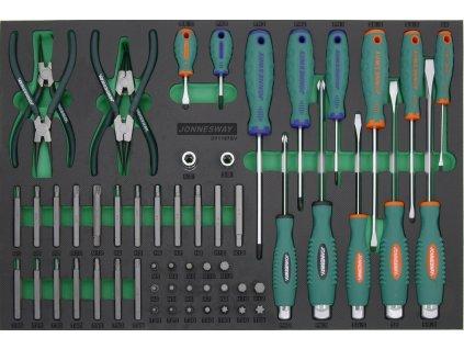 Modul - sada ručního nářadí - kleště seger, šroubováky a bity, 57 ks - JONNESWAY D71157SV