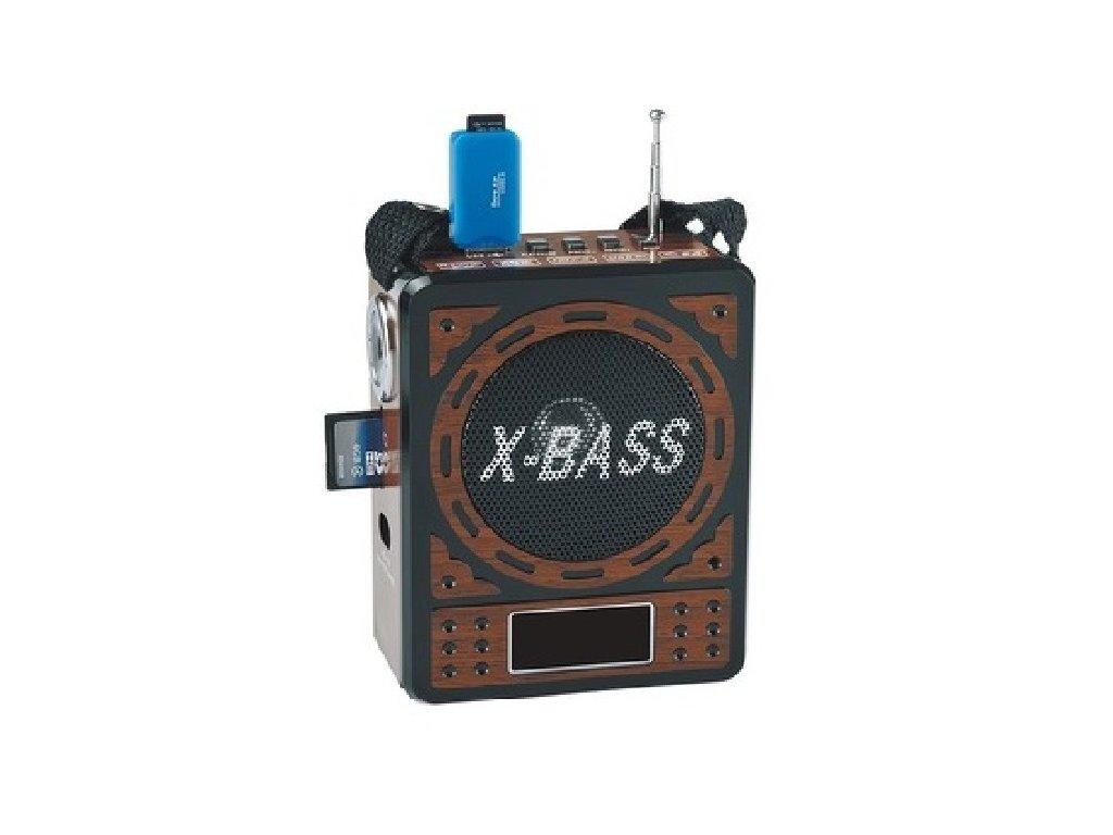Přenosné rádio s přehrávačem MP3, USB, SD karta X-Bass brown wood